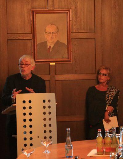 """H.-J. Jaworski und Annette Ihme-Krippner, Vernissage """"... und dass niemand deine Krone nehme"""", Herner Rathaus, 2014"""