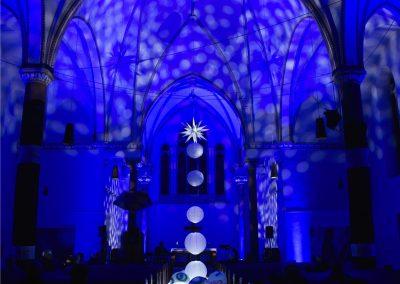 """crikraculum-Installation """"Zwischenlicht"""", Christuskirche Wanne-Eickel, Licht: Jan Seifert"""