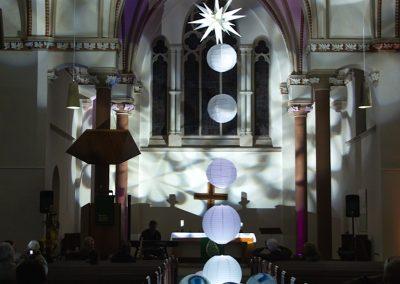 """crikraculum-Installation """"Zwischenlicht"""", Christuskirche, Wanne-Eickel, Lichttechnik Jan Seifert"""