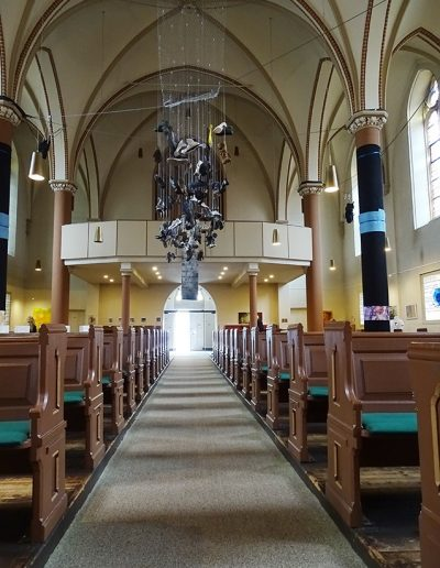 """""""Betreff:Luther"""", Christuskirche Wanne-Eickel, Mai 2017, """"Die 4 Säulen der Reformation"""" Teilansicht"""